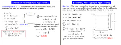 Differentiation 3 (Stationary Points Applications)